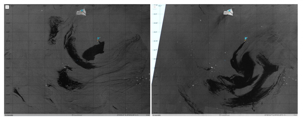 Anomalously large oil spills in the Persian Gulf on the Sentinel-1A SAR images